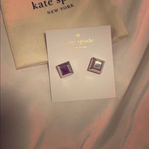 Kate Spade silver square earrings NWT Authentic